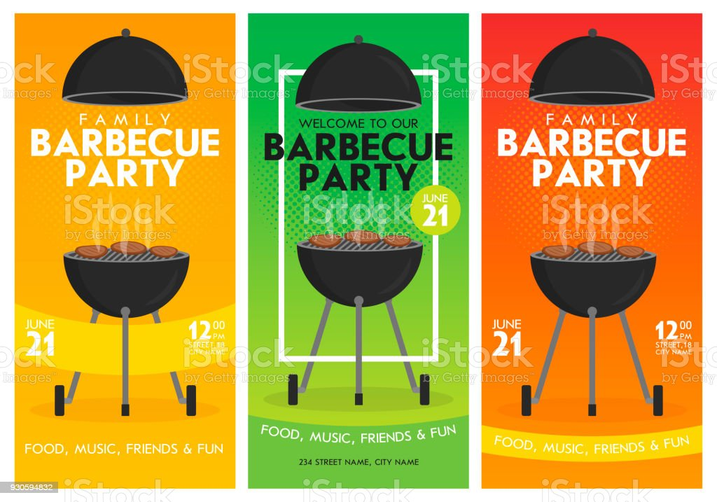 Lovely vector barbecue party invitation design template set. Trendy BBQ cookout poster design - illustrazione arte vettoriale