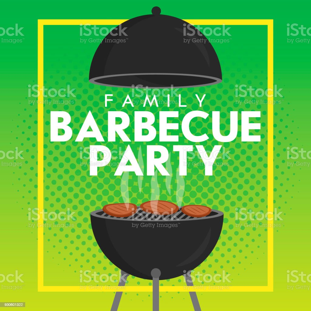 Lovely vector barbecue party invitation design template. Trendy BBQ cookout poster design vector art illustration
