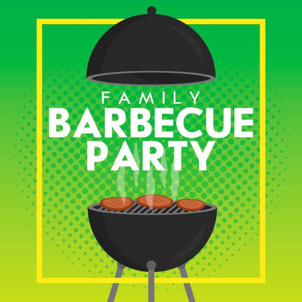 schöne vektor grill party einladung design-vorlage. trendige grill grillparty-poster-design - edelrost stock-grafiken, -clipart, -cartoons und -symbole