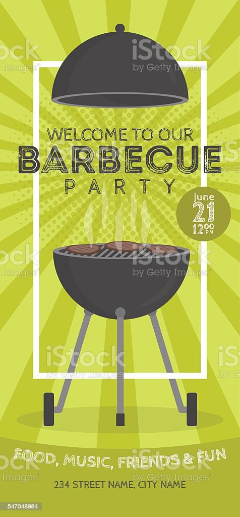 Lovely vector barbecue party invitation design template. vector art illustration