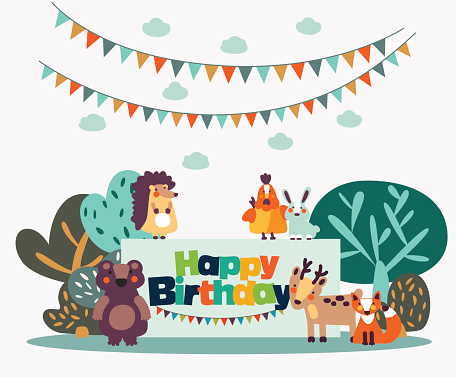 Lovely vector card with funny cute animals and garlands