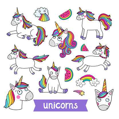 Lovely vector set of illustrations of the funny unicorn.