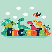 Lovely vector set with funny dinosaurs, trees and clouds