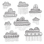 Lovely vector set with rainy clouds in Boho style with ornament. Can be printed and used as design element, template, decor, sticker, card, banner, etc.