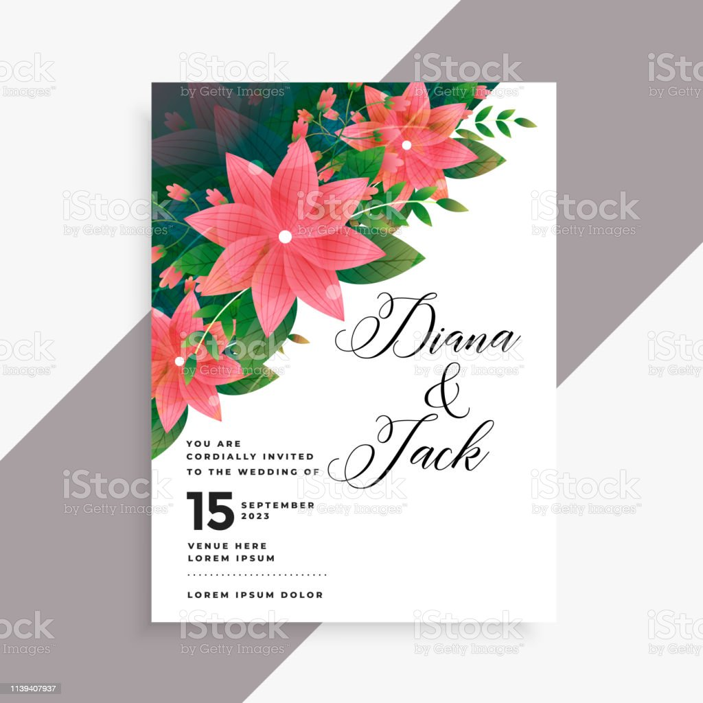 Lovely Wedding Invitation Card Design Stock Illustration - Download Image  Now - iStock