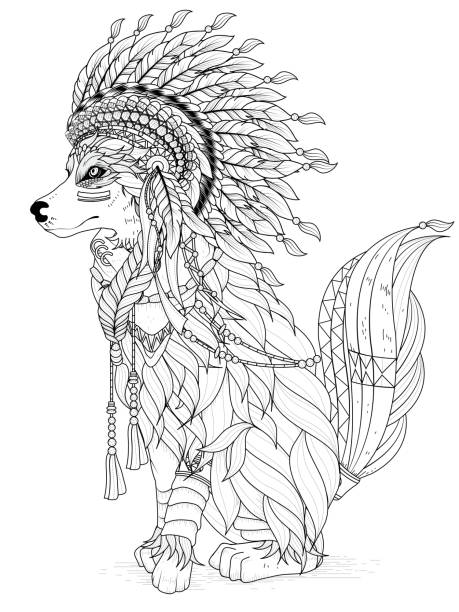 Lovely Wolf Coloring Page Stock Vector Art 516852110