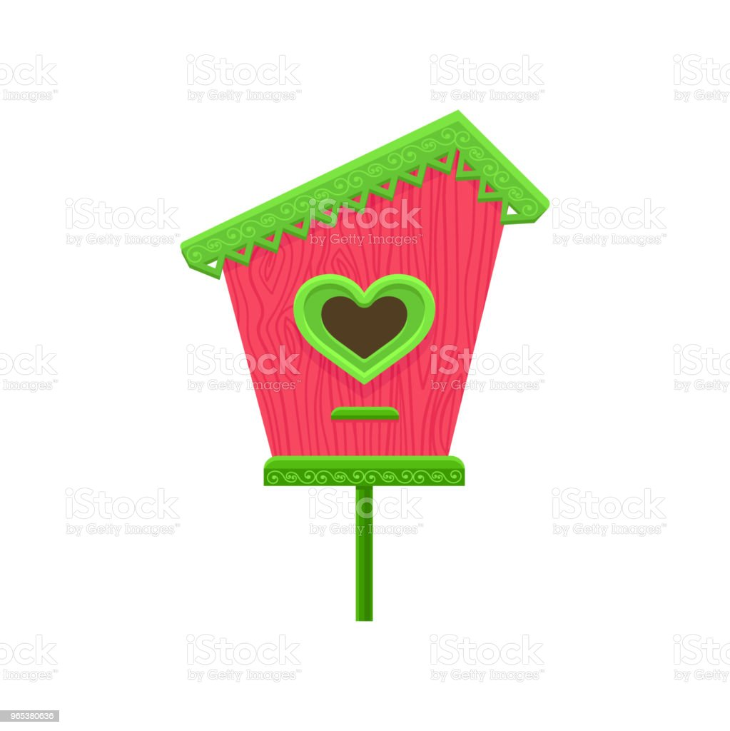 Lovely wooden birdhouse with hole in shape of heart. Pink nesting box with green roof on stand. Flat vector element for postcard royalty-free lovely wooden birdhouse with hole in shape of heart pink nesting box with green roof on stand flat vector element for postcard stock vector art & more images of animal
