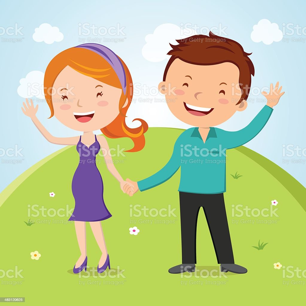 Lovely young couple waving hand vector art illustration