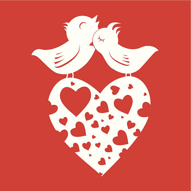 Les amoureux des oiseaux sur le cœur - Illustration vectorielle