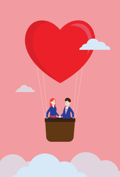 Lover float in the sky by a heart shape balloon Couple - Relationship, Finding, Destiny, Love, Sky girlfriend stock illustrations