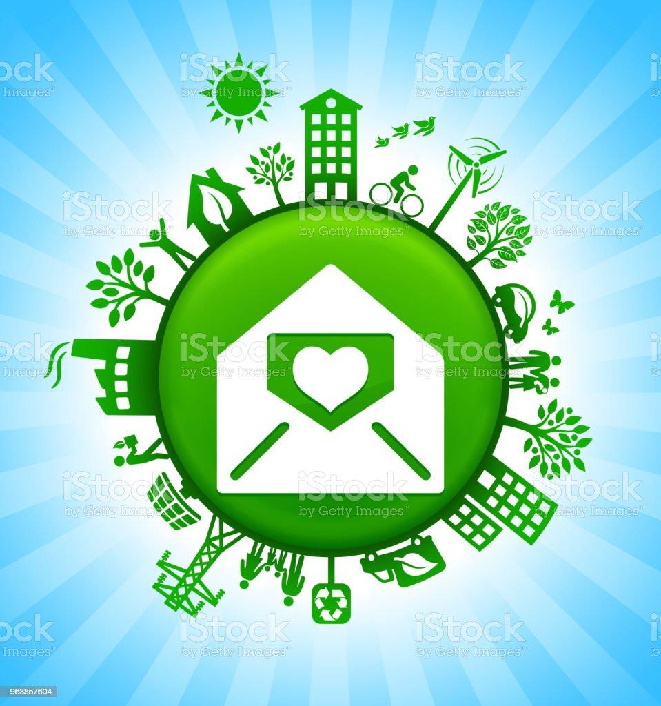 Lover Letter in Envelope Environment Green Button Background on Blue Sky - Royalty-free Alternative Energy stock vector