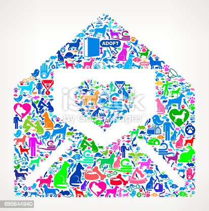 Lover Letter in Envelope Pets and Animals Vector Icon Background