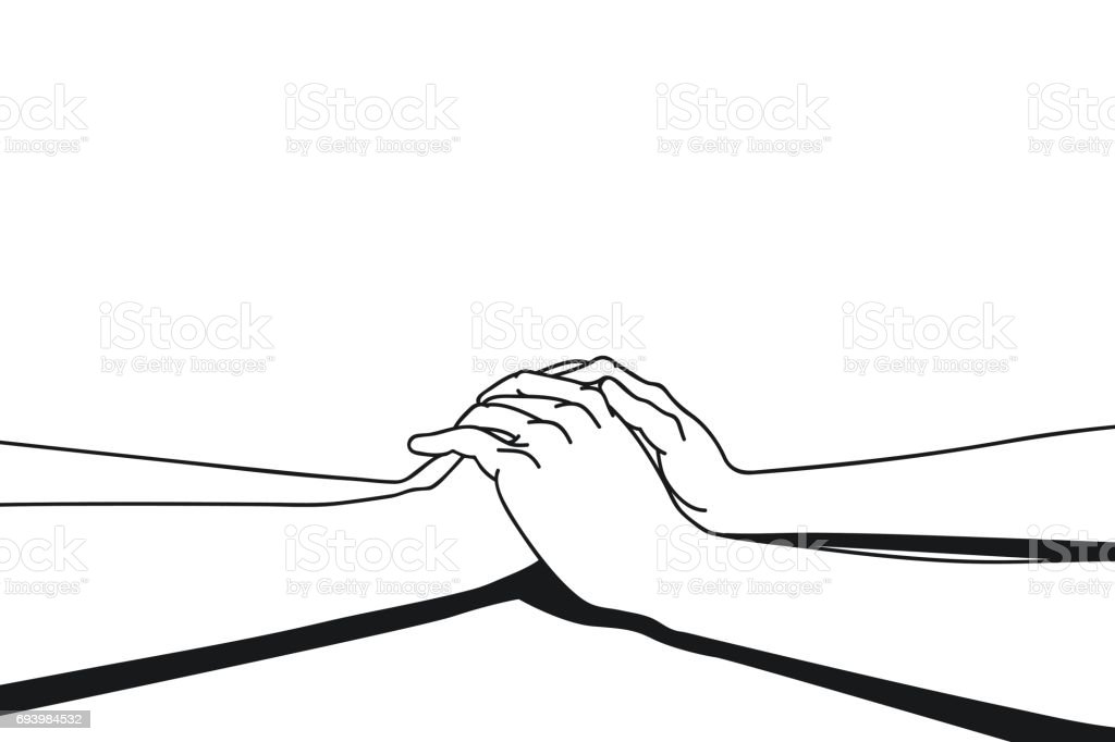 Lover making clasping hands vector art illustration