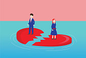 istock Lover stands on a broken heart in the sea 1223099068