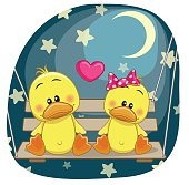 Valentine card with Lovers Ducks on the swing