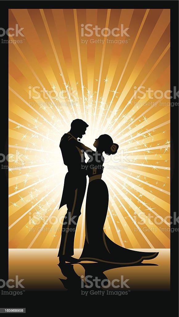 Lovers Embrace or Dancers vector art illustration