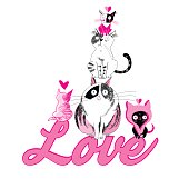 Lovers funny graphics cats