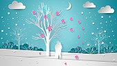Lovers in the background of the winter landscape under a flowering tree. Flying flowers and snow. Paper texture New Year, Christmas, Valentine's Day illustration - vector decor.