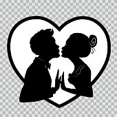 Lovers kiss on background of big heart. Silhouettes on transparent background for Valentines Day.