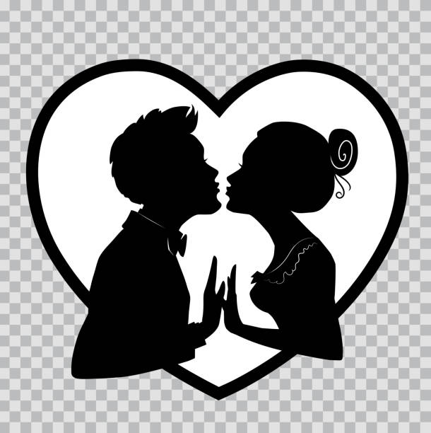 lovers kiss on background of big heart. silhouettes on transparent background for valentines day. - kiss stock illustrations