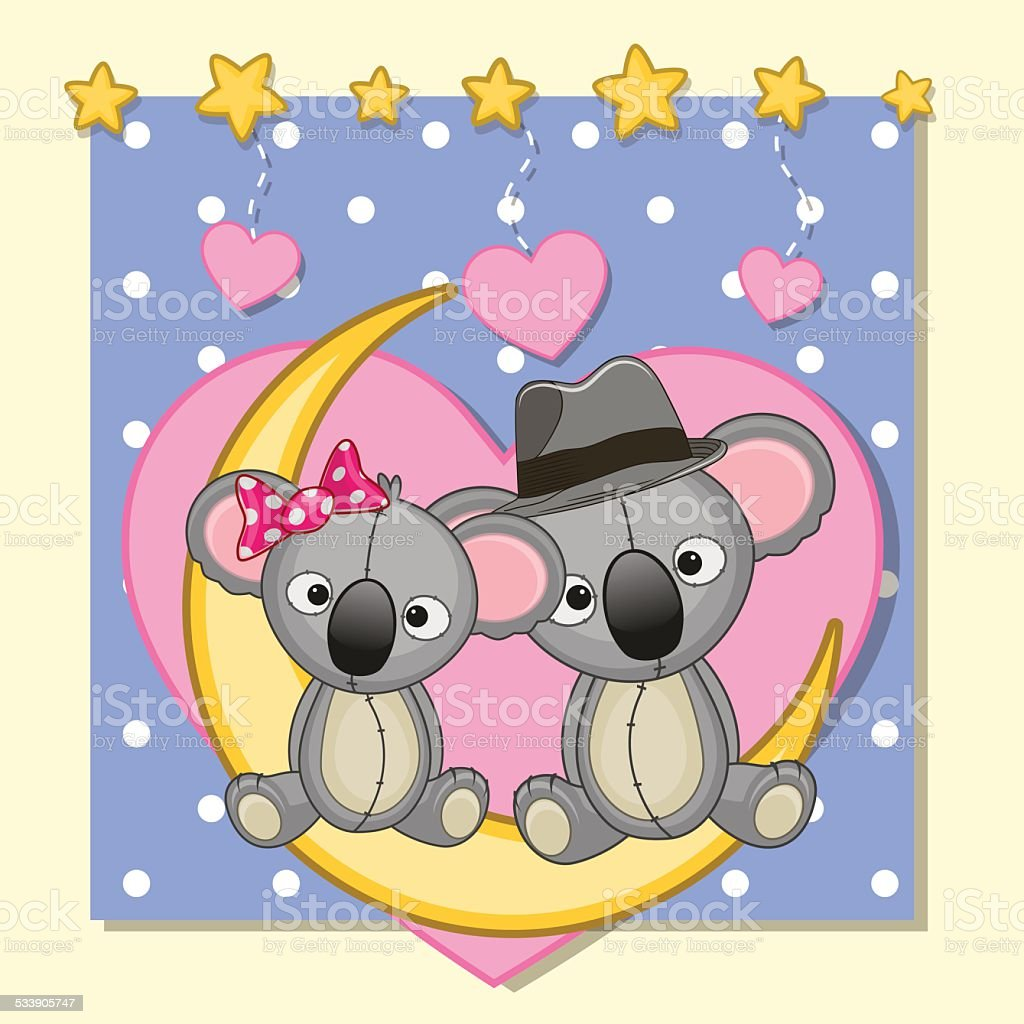 Lovers Koalas vector art illustration
