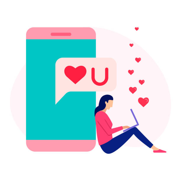 Liebhaber Messaging Online-Konzept. – Vektorgrafik