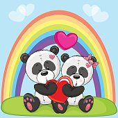 Valentine card with Lovers Pandas and a rainbow