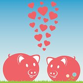 Lovers pink pigs. Couple of pigs. Vector illustration