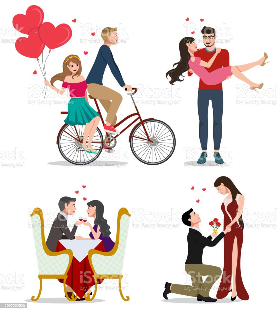 Lovers Vector Character Set Pairs Of Valentines Couples In