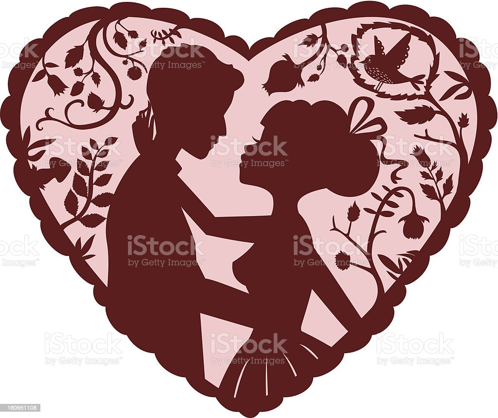 Lovers Silhouette of a couple surrounded by nature in a heart shape. Light pink and rich chocolate brown. Colors are super easy to modify. Also contains a black and white version. (A zoom out version with a full characters view is also available, check my other images.) Adult stock vector