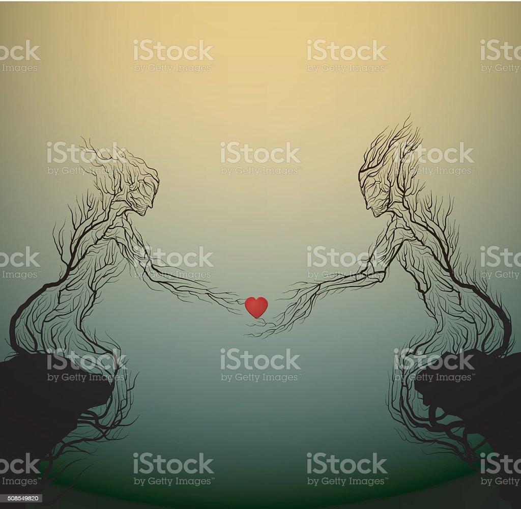 lovers vector art illustration