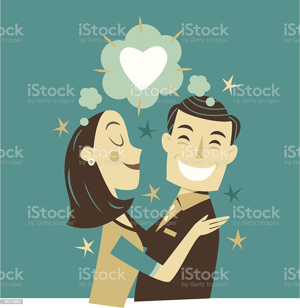 Lovers vector art illustration