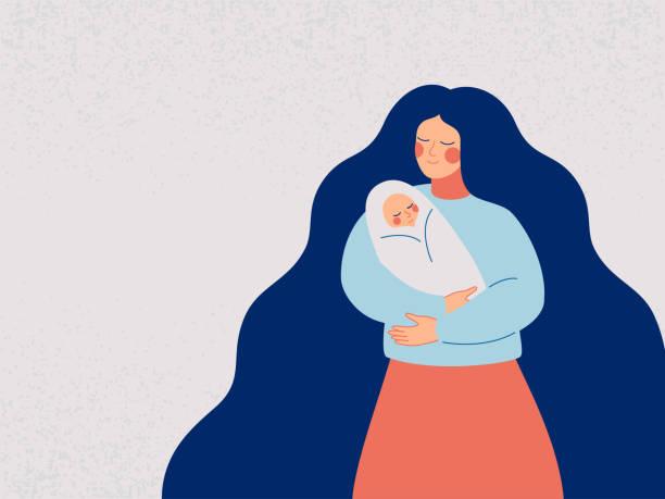 彼女の生まれたばかりの子供を抱いて愛情と思いやりのある母親。 - 母親点のイラスト素材/クリップアート素材/マンガ素材/アイコン素材
