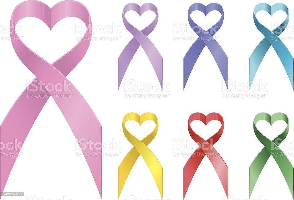 Loving Awareness Ribbons vector art illustration