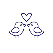 Loving birds line icon. Romance, dating, wedding. Valentine Day concept. Vector illustration can be used for topics like relationships, holiday, celebration