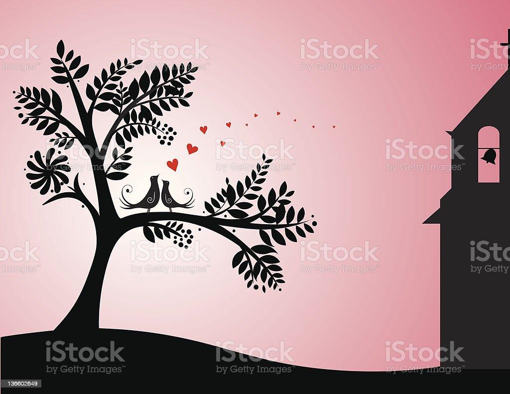 loving birds vector art illustration