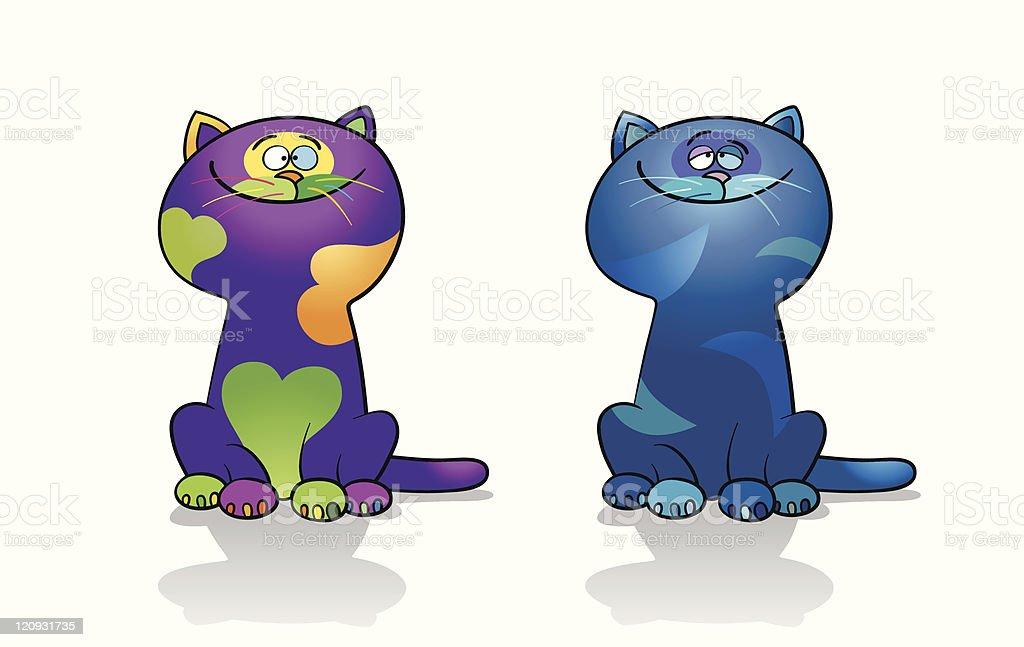 Loving Cats royalty-free stock vector art