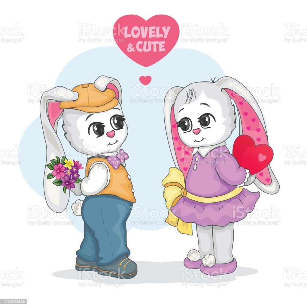 Vetores De Casal Amoroso Um Adoravel E Fofo Teddy Bunny Cartao