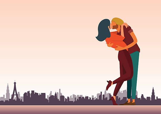 bildbanksillustrationer, clip art samt tecknat material och ikoner med loving couple are kissing for valentine day and wedding decoration. - young couple