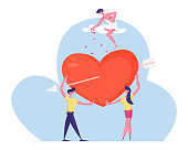 Loving Couple Dating Concept. Young Man and Woman Holding Huge Red Pierced Heart Looking on Each Other with Love under Cupid on Cloud Throwing Hearts Petals from Sky Cartoon Flat Vector Illustration