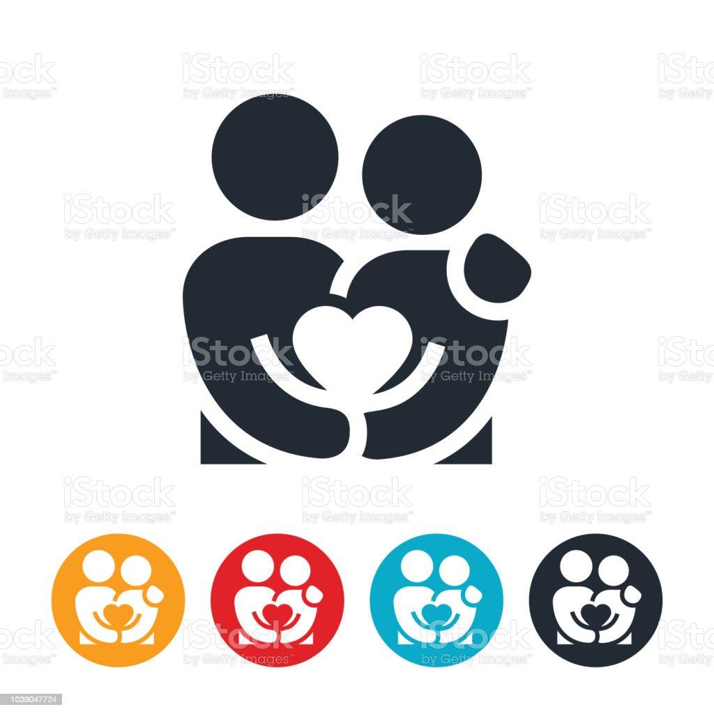 Loving Couple Holding Heart Icon vector art illustration