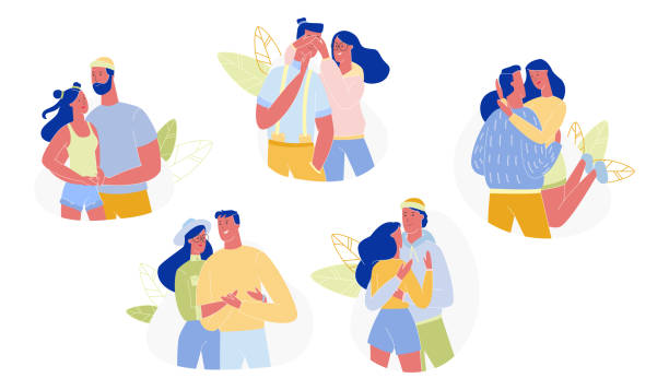 loving couple hugging and embracing set, love. - romance stock illustrations, clip art, cartoons, & icons