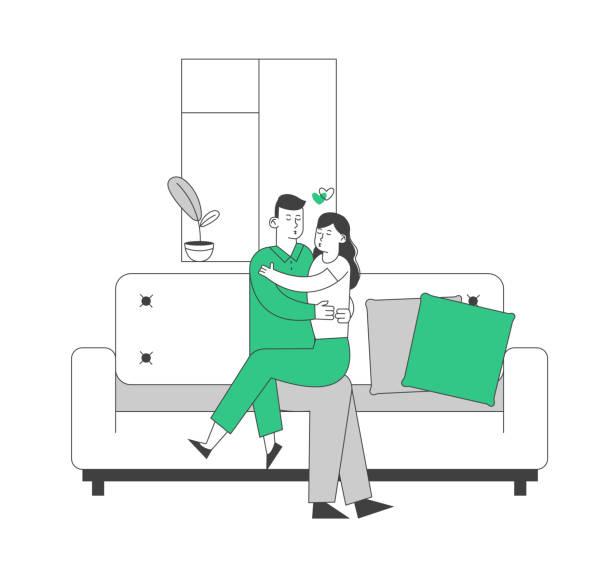 stockillustraties, clipart, cartoons en iconen met liefdevolle paar knuffelen zittend op de bank thuis. romantische relaties, liefde en dating vrije tijd vrijetijdsbesteding. man omarmen jonge vrouw zittend op zijn knieën op de bank. cartoon platte vector illustratie, lijn kunst - flirten