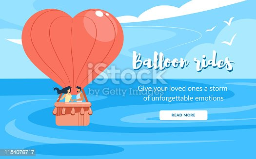 Loving Couple in Basket, Rides Air Balloon Flying