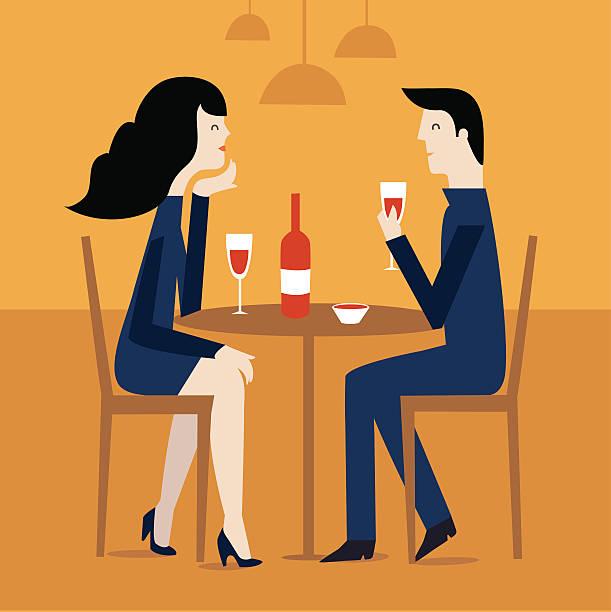 illustrazioni stock, clip art, cartoni animati e icone di tendenza di loving couple in restaurant. - dinner couple restaurant