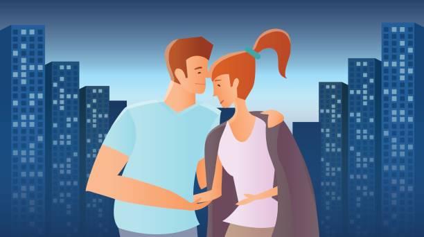 bildbanksillustrationer, clip art samt tecknat material och ikoner med älskande par i kväll staden. man och kvinna på bakgrund av höga byggnader med glödande windows. vektorillustration. - young couple