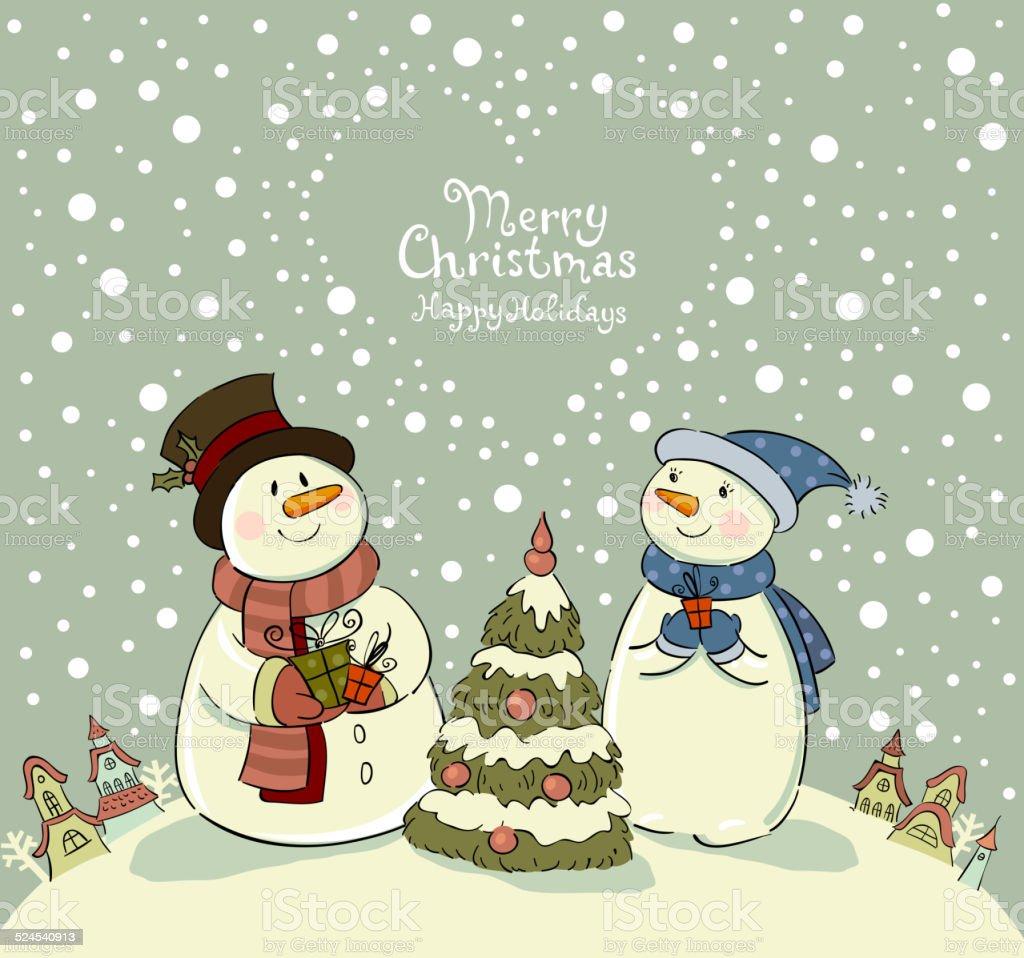 愛するカップルのそばでクリスマスギフト雪だるま treegreeting の
