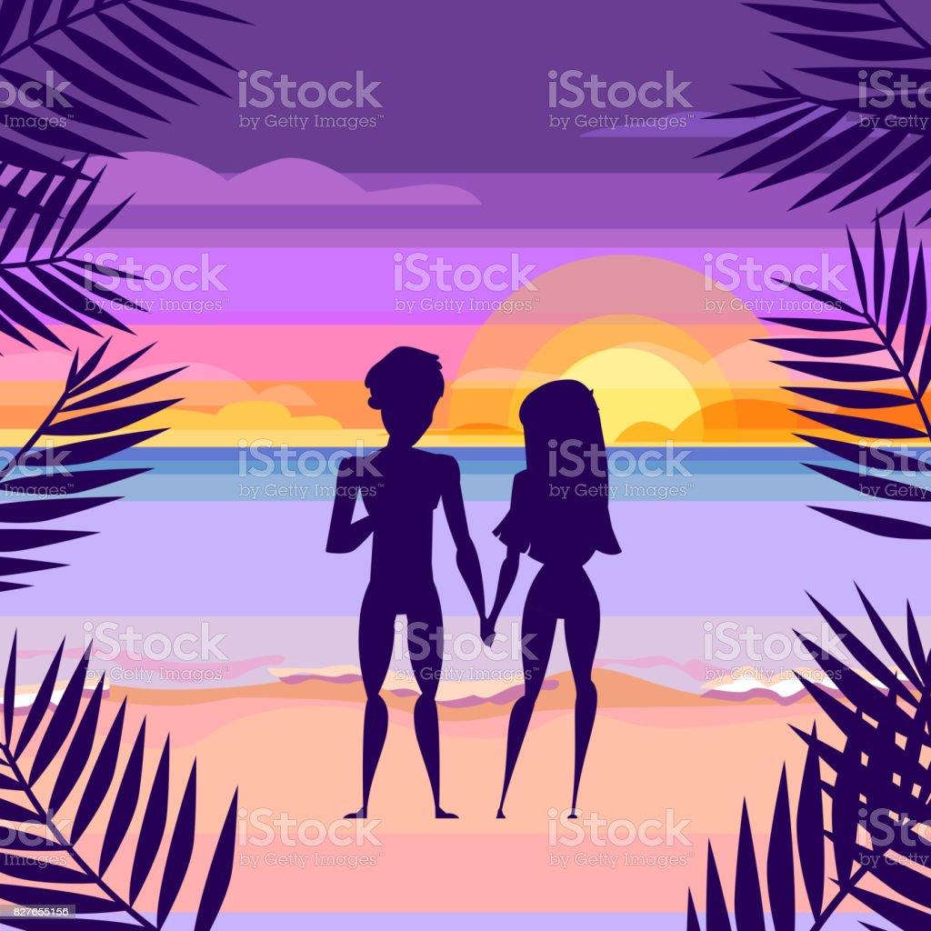 Loving Couple On The Beach Sunset Cartoon Style Stock