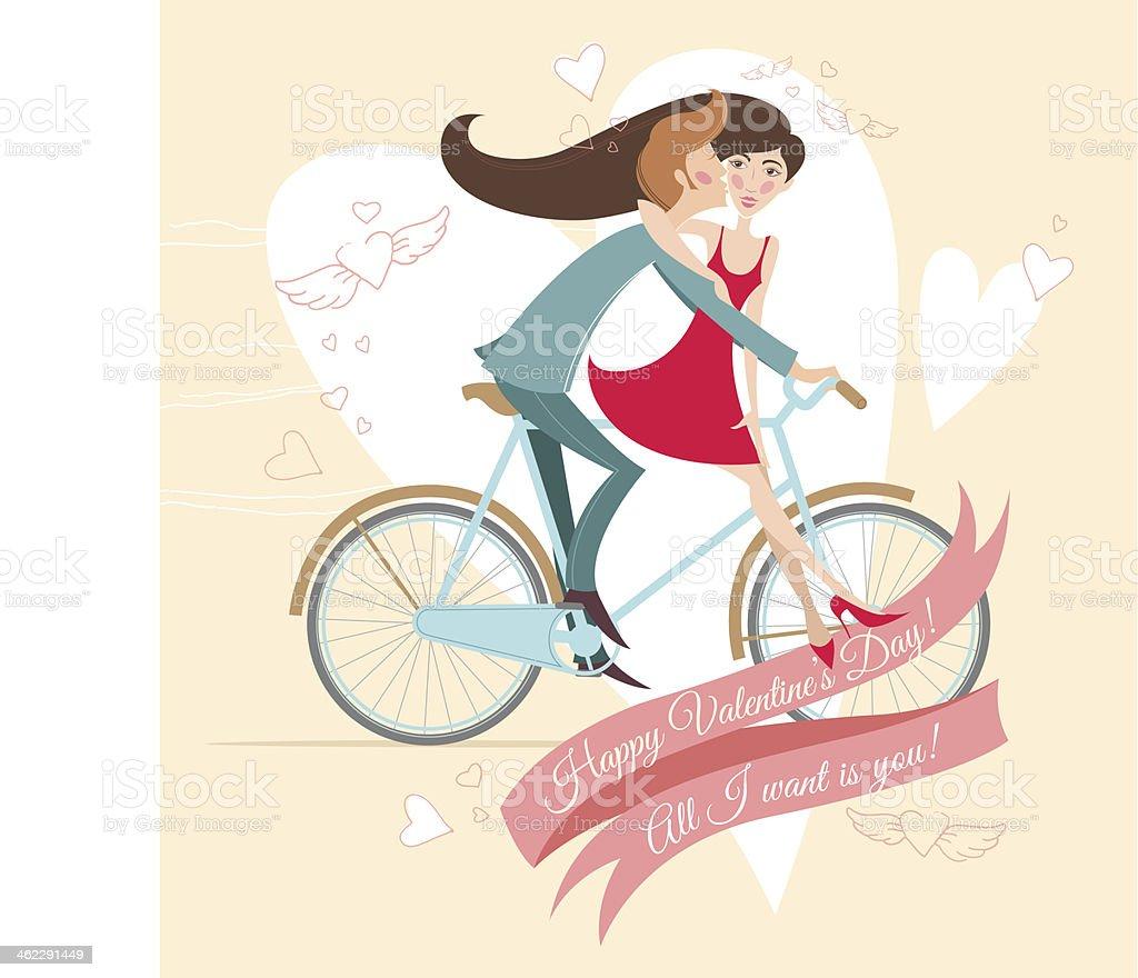 Ilustración de Foto De Una Pareja En Bicicleta Tarjeta De ...