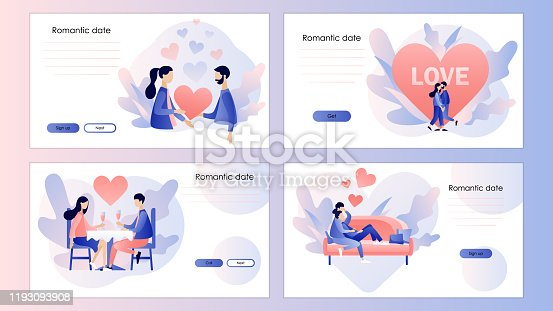 Loving couple. Romantic date concept. Characters Valentine day set. Screen template for mobile smart phone, landing page, template, ui,web, mobile app, poster, banner, flyer. Modern flat cartoon style